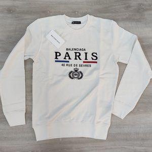 Balenciaga Paris White Sweatshirt For Men